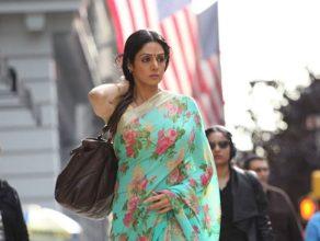 wearing a saree