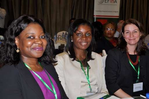 L-R: Chief Executive Officer, Enhancing Financial Innovation and Access (EFInA), Ms Modupe Ladipo, Board Member, Enhancing Financial Innovation and Access (EFInA), Mrs Animo Emuwa and Manager, Savings, Women's World Banking, Ms. Jennifer McDonald during the Women's Financial Inclusion Forum at Four Point by Sheraton, Victoria Island on November 14, 2013. Photo Credit: Ghana News