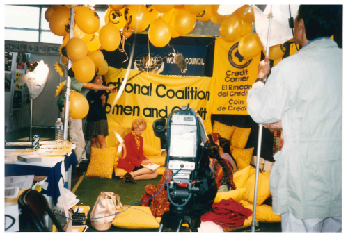 Judy Woodruff speaks to clients in the Credit Corner at the Fourth World Conference on Women NGO Forum (Beijing 1995)