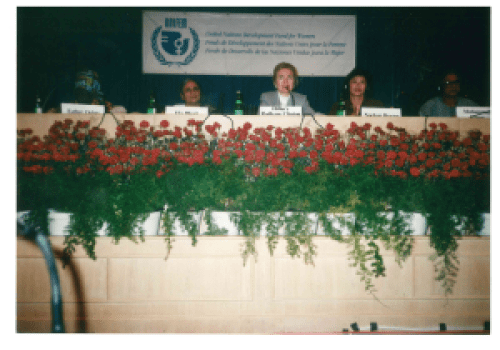 Hillary Clinton speaking on a panel  at the Fourth World Conference on Women (Beijing, 1995)
