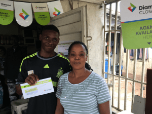 A brand new Diamond Bank customer showing off his stuff!