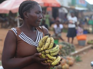 A fruit seller in a rural Malawi market