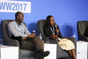 Paul Muli of Greenlight Planet and Rose Muturi of Tala Mobile at Making Finance Work for Women 2017