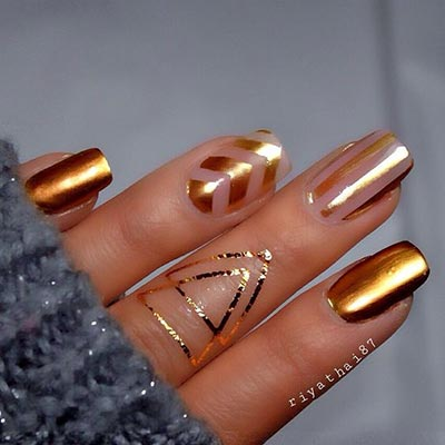 Trendy Negative E And Gold Nail Art