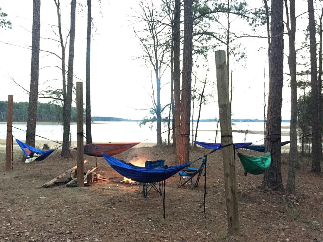 winter camping trip