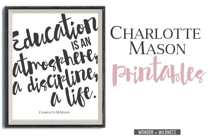 A selection of free Charlotte Mason printables for you to use with helpful tips for how to print them yourself even without a color printer at home.