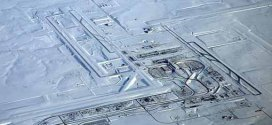 Denver International Airport before and after snowstorm