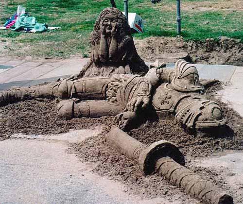 sand sculptures - dead knight