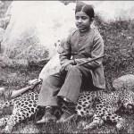 Indian maharajah daughter seated on panther