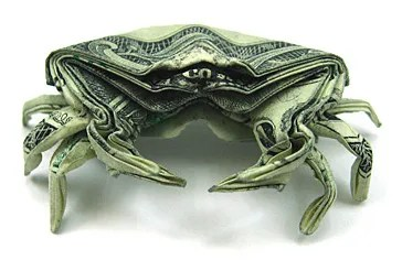 Money Origami - One Dollar Crab