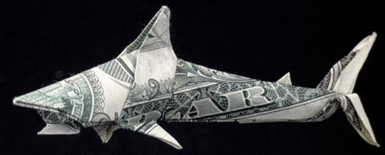 Money Origami - One Dollar Shark
