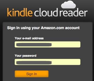 Kindle Cloud Reader Login to Amazon