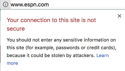 Chrome Alert Unsecured HTTP Websites