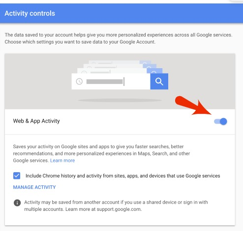 Google Web and App Activity Off