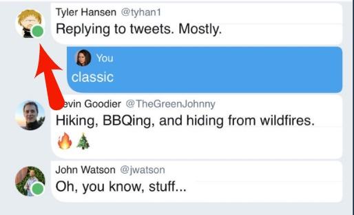 Twitter Green Dot Status Indicator