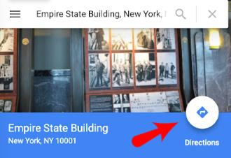 Google Maps Website Direction Arrow