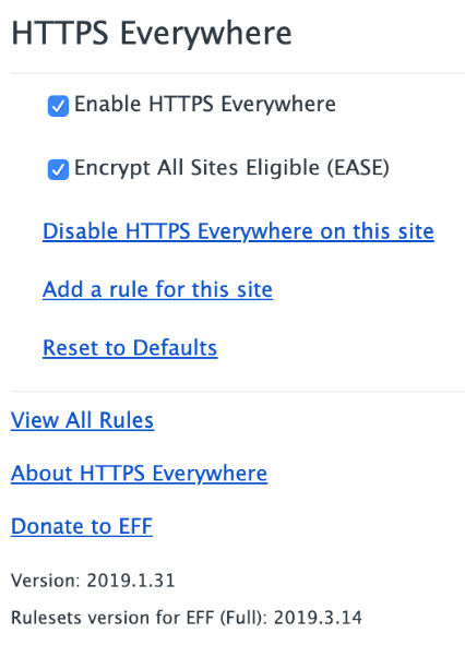 Options HTTPS Everywhere