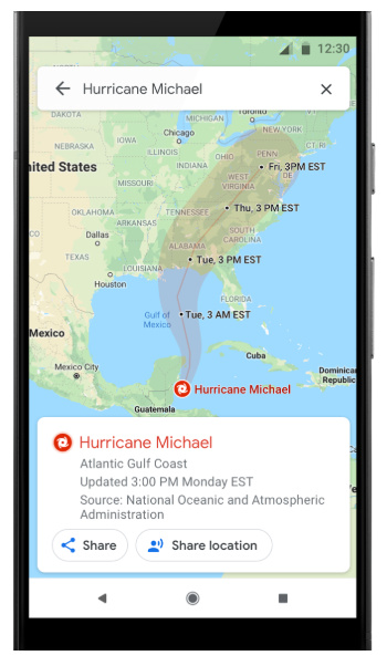 Google Maps Hurricane Predictions