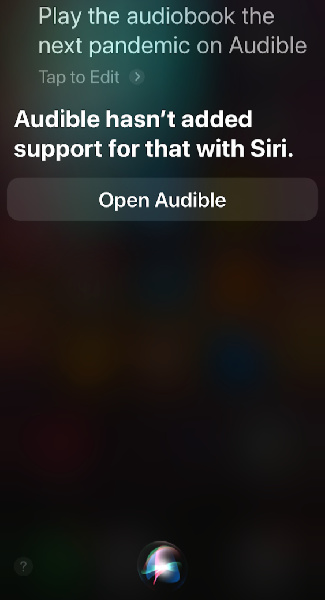 Siri not working with an app