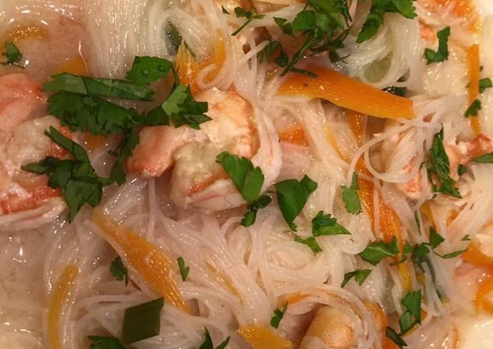 Crevettes à la Coriandre et ses vermicelles de riz au Cookéo