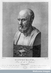 L0013120 Engraving: marble bust of Hippocrates; by Credit: Wellcome Library, London. Wellcome Images images@wellcome.ac.uk http://wellcomeimages.org HIPPOCRATES {460?-377? B.C.} Engraving: marble bust of Hippocrates; by A. M cou after Vauthier after a statue in the Louvre, n.d. Published: - Copyrighted work available under Creative Commons Attribution only licence CC BY 4.0 http://creativecommons.org/licenses/by/4.0/