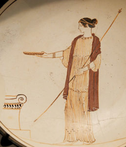 Goddess pouring libation: kylix, attributed to the Villa Giulia Painter (Marie-Lan Nguyen (2011)) [CC BY 2.5 (http://creativecommons.org/licenses/by/2.5)]via Wikimedia Commons