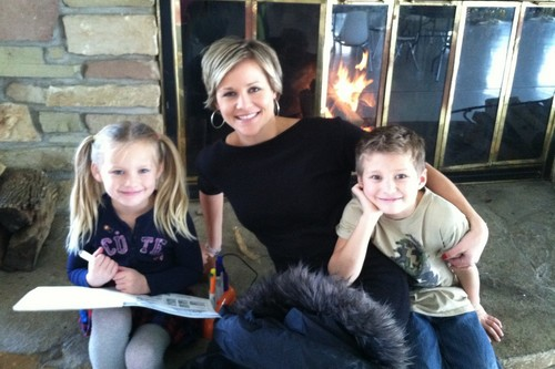 Beautiful mom with two kids