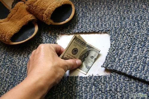 unusual places to hide money