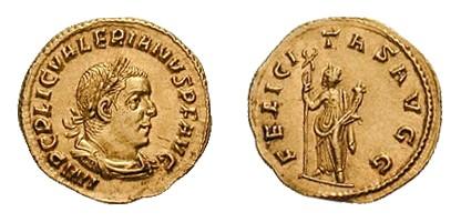 Aureus of emperor Valerian
