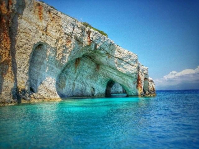 The Blue Caves On Zakynthos island Greece