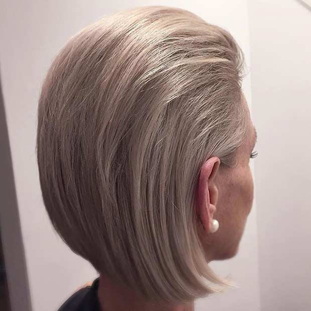 Ash Blonde Bob With The Back Slicked