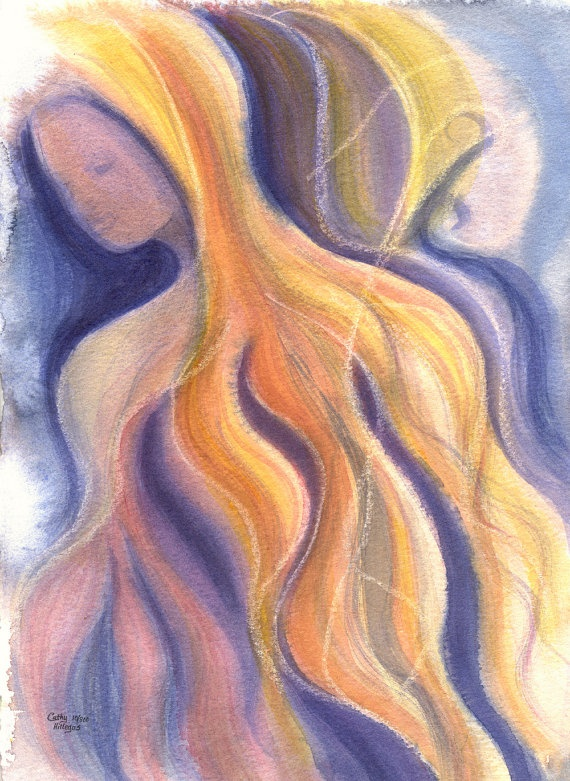 woman goddess spiritual watercolor