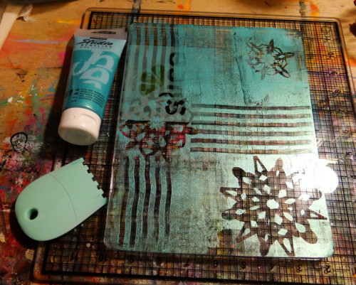 Gelli Snowflake and paint