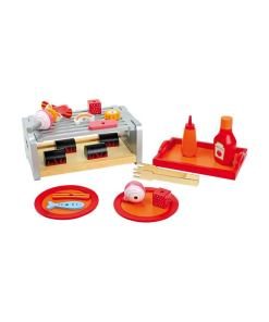 Tafel grill Legler, houten speelgoed samen eten