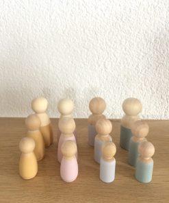 Houten poppetjes kinderen, peg dolls -wonderzolder.nl