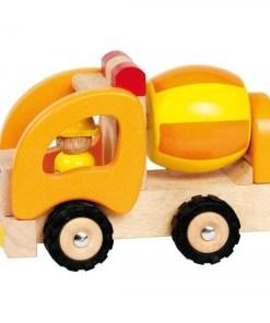 Betonmixer van Goki, bouwvoertuig, houten speelgoed -wonderzolder.nl