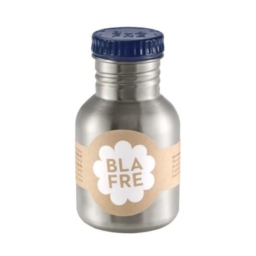 Steel bottle 300 ml blue, Blafre, drinkfles RVS donker blauw -wonderzolder.nl