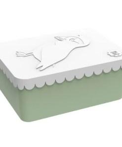 Lunchbox klein Vogel wit / lichtgroen, Blafre, broodtrommel -wonderzolder.nl