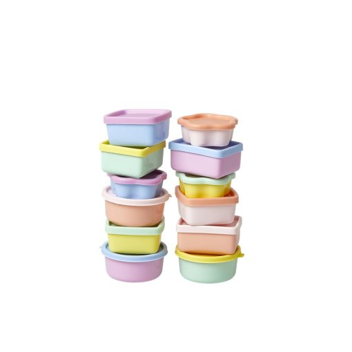 Kleine bakjes pastel, mini food keepers RICE -wonderzolder.nl