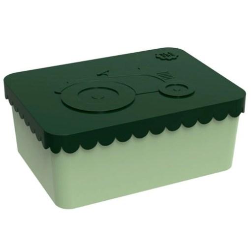 Lunchbox klein trekker donkergroen / lichtgroen Blafre, broodtrommel met 1 vak -wonderzolder.nl