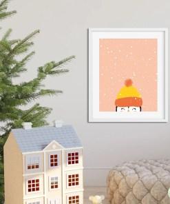 winterposters pinguïn kerst, pinguïn, winter papiergoed -wonderzolder.nl