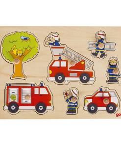 puzzel brandweer, Goki, knoppen puzzel, wonderzolder.nl