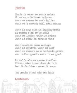 Thuis, lentezoet, gedicht, kaart, wonderzolder.nl