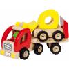 Vrachtwagen met shovel, gooi, houten speelgoed, wonderzolder.nl