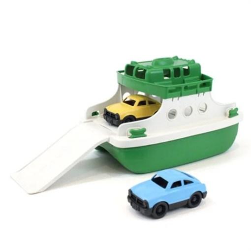 Veerboot met auto's groen/wit, Green Tous veerboot, wonderzolder.nl