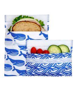 Lunchskins blue whale set, boterhamzakje, duurzaam, wonderzolder.nl