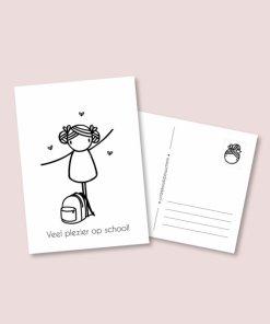kaart hoera naar school meisje, irmadammekes, wonderzolder.nl
