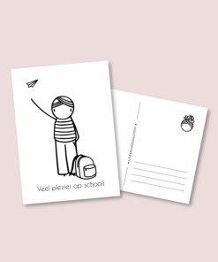 kaart hoera naar school jongen, irmadammekes, wonderzolder.nl