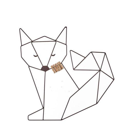 Kaarthouder vos bruin, origami vos, wonderzolder.nl