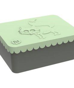 Lunchbox klein vos, lichtgroen, Blafre, broodtrommel met 1 vak -wonderzolder.nl